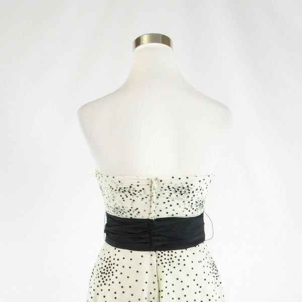 White black polka dot BCBG MAX AZRIA strapless A-line dress 4-Newish