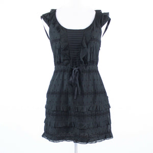 Charcoal gray black diamond eyelet J. CREW cap sleeve tiered dress 0-Newish