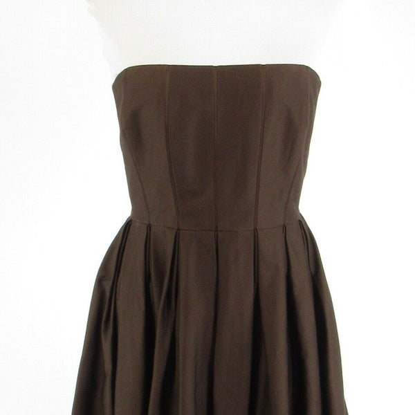 Brown cotton blend CALVIN KLEIN strapless A-line dress 6-Newish