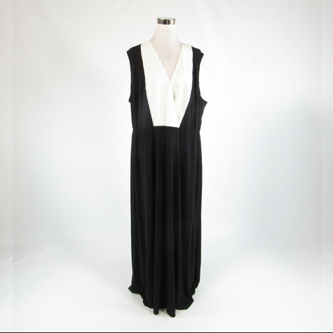 Black white CALVIN KLEIN sequin trim stretch sleeveless maxi dress 22W