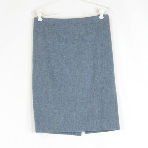 Blue herringbone 100% wool J. CREW No. 2 Pencil pencil skirt 0