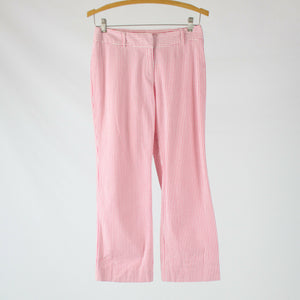 Pink white seersucker striped 100% cotton HAROLD'S straight leg capri pants  0