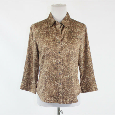 Brown ivory cheetah cotton blend TALBOTS 3/4 sleeve button down shirt blouse 10P