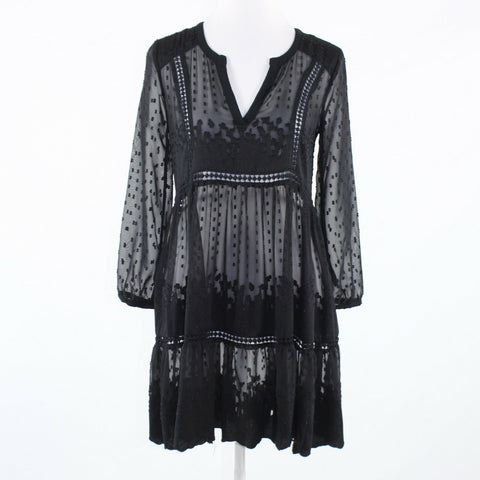 Black embroidered lace VANESSA VIRGINIA 3/4 sleeve dress 0P