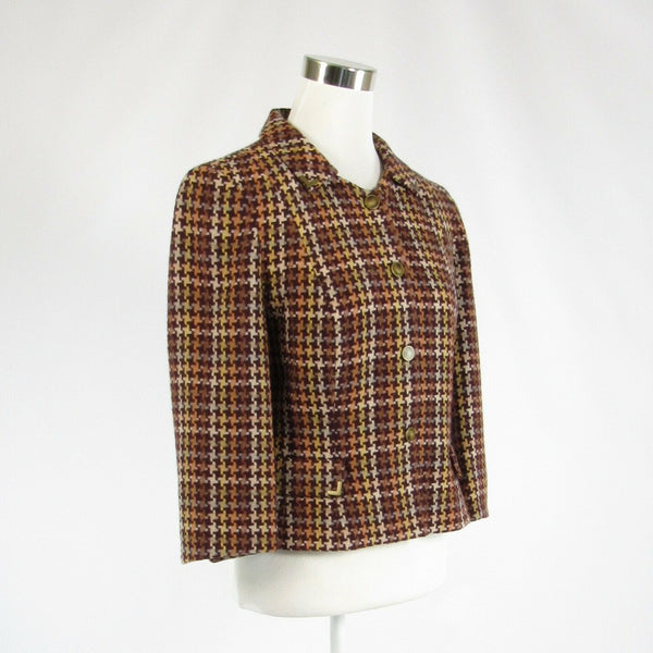 Brown orange houndstooth wool blend DAVID MEISTER 3/4 sleeve jacket 8-Newish