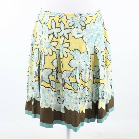 Light yellow green floral print cotton blend MAXMARA Weekend pleated skirt 4