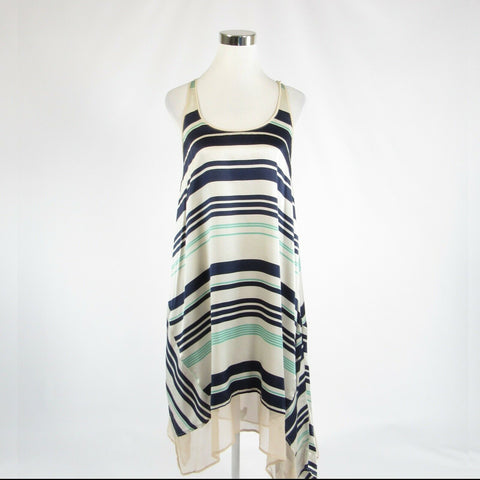 Light beige blue uneven striped ELIZABETH AND JAMES asymmetrical hem dress XS-Newish