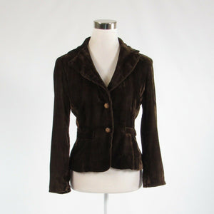 Brown velour CACHE rhinestone trim long sleeve blazer jacket 4