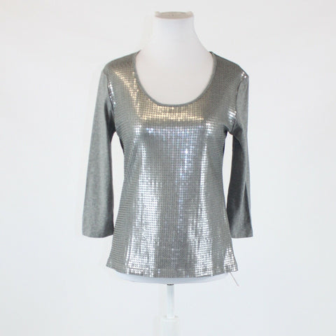 Heather gray 100% cotton NEW YORK and COMPANY sequin front 3/4 sleeve blouse M