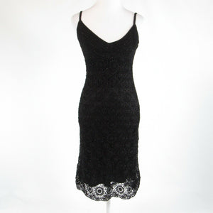Black lace CARMEN MARC VALVO spaghetti strap sheath dress XS