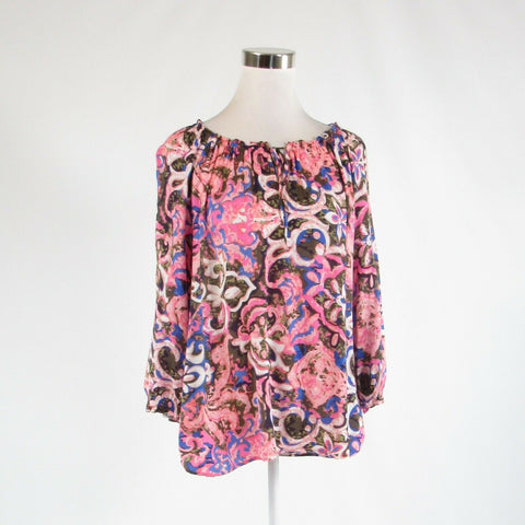 Light pink white floral print TALBOTS stretch 3/4 sleeve blouse M