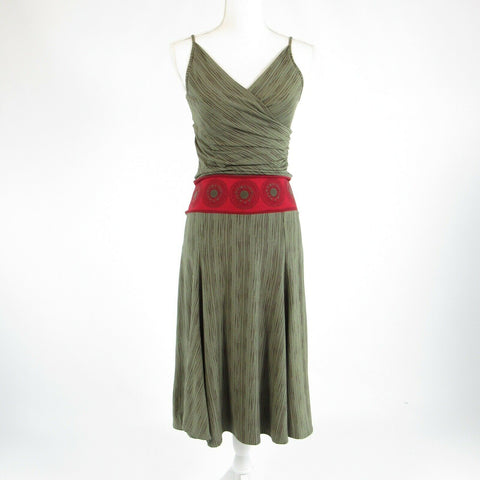 Olive green brown diagonal striped BCBG MAX AZRIA A-line dress XS