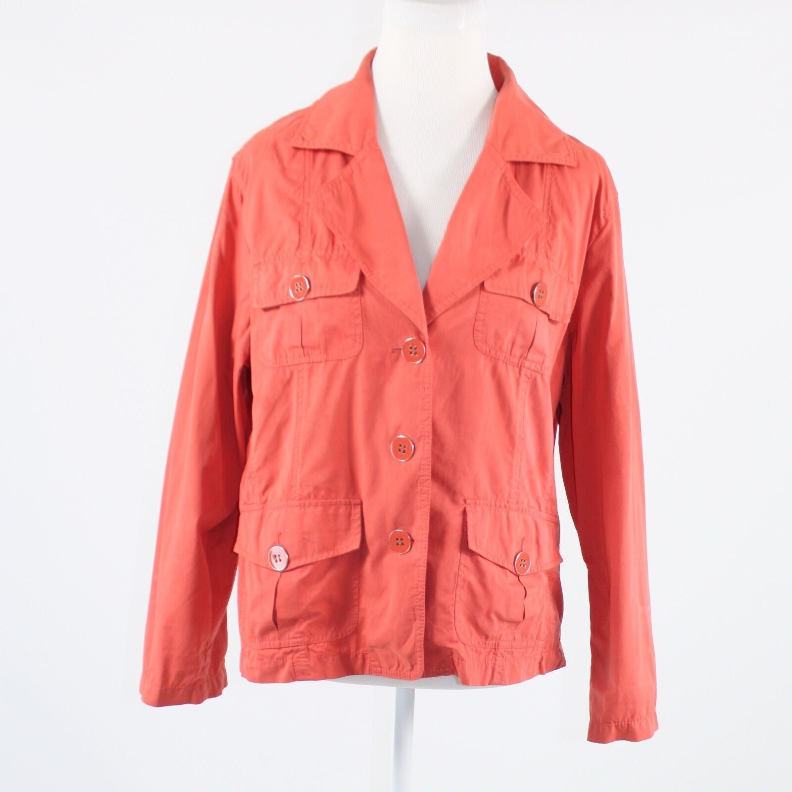 Coral orange brushed texture CHICO'S long sleeve button down jacket 3 L 16