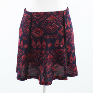Eggplant purple red geometric shimmery CUSTO BARCELONA A-line skirt 36-Newish