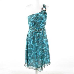 Turquoise blue brown floral silk MILLY one shoulder dress 6