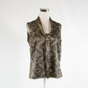 Black beige geometric ANNE KLEIN sleeveless blouse M-Newish
