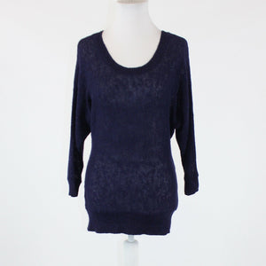 Navy blue semi-sheer linen blend ANN TAYLOR LOFT 3/4 batwing sleeve sweater S