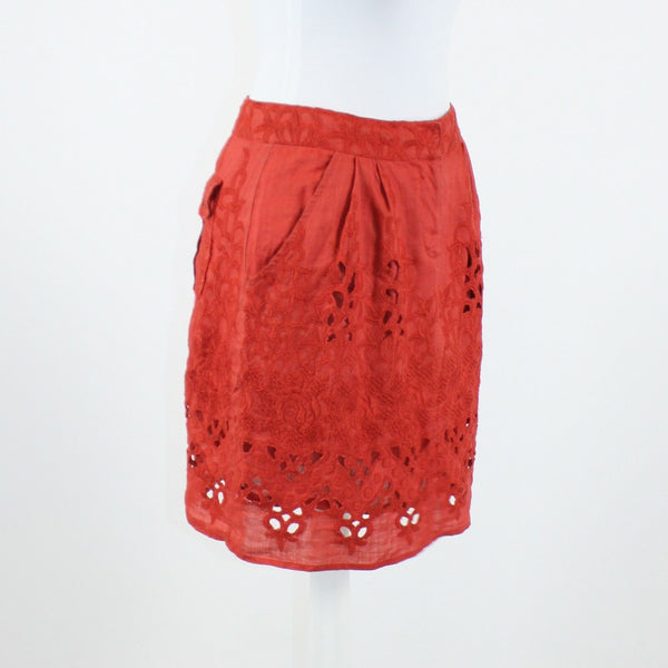 Dark orange embroidered laser cut BARASCHI pleated front A-line skirt 2