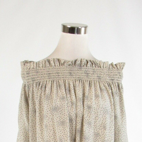 Light gray polka dot 100% silk ACROBAT 3/4 sleeve blouse M-Newish