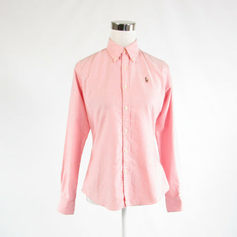 Light pink brown 100% cotton RALPH LAUREN BLUE LABEL button down blouse 4
