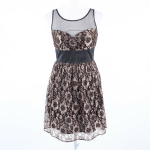 Black gold floral print lace TRACY REESE Plenty Frock! sleeveless A-line dress 2-Newish