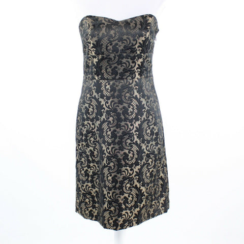 Black gold jacquard shimmery ANN TAYLOR LOFT strapless sheath dress 4-Newish
