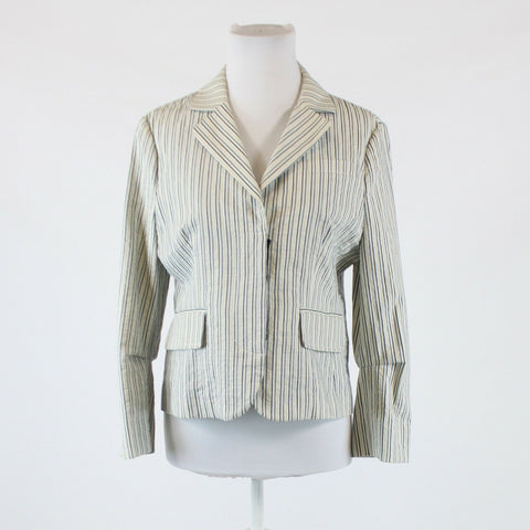 Ivory blue striped cotton blend BCBG MAX AZRIA hidden button blazer jacket L
