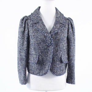 Navy blue white tweed ETCETERA 3/4 sleeve jacket 8