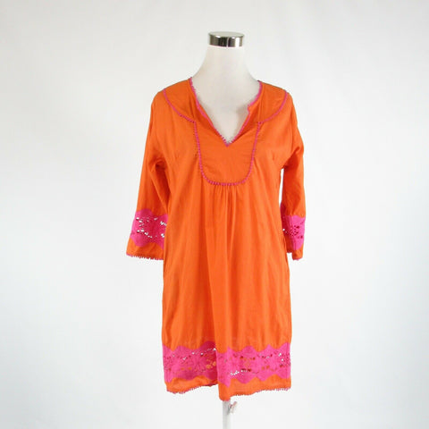 Orange pink 100% cotton GRETCHEN SCOTT DESIGNS 3/4 kimono sleeve shift dress M-Newish