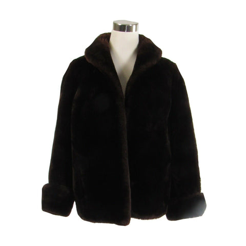 Brown fur thick long sleeve open front waist length vintage coat M-Newish