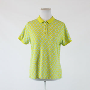Bright green blue geometric stretch cotton blend LANDS' END polo shirt M