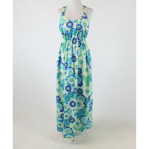 Green blue floral print cotton blend ELLEN and OLLIE crossed strap maxi dress 6