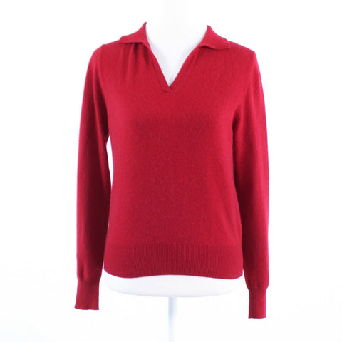 Red 100% cashmere LORD and TAYLOR long sleeve collared stretch sweater M