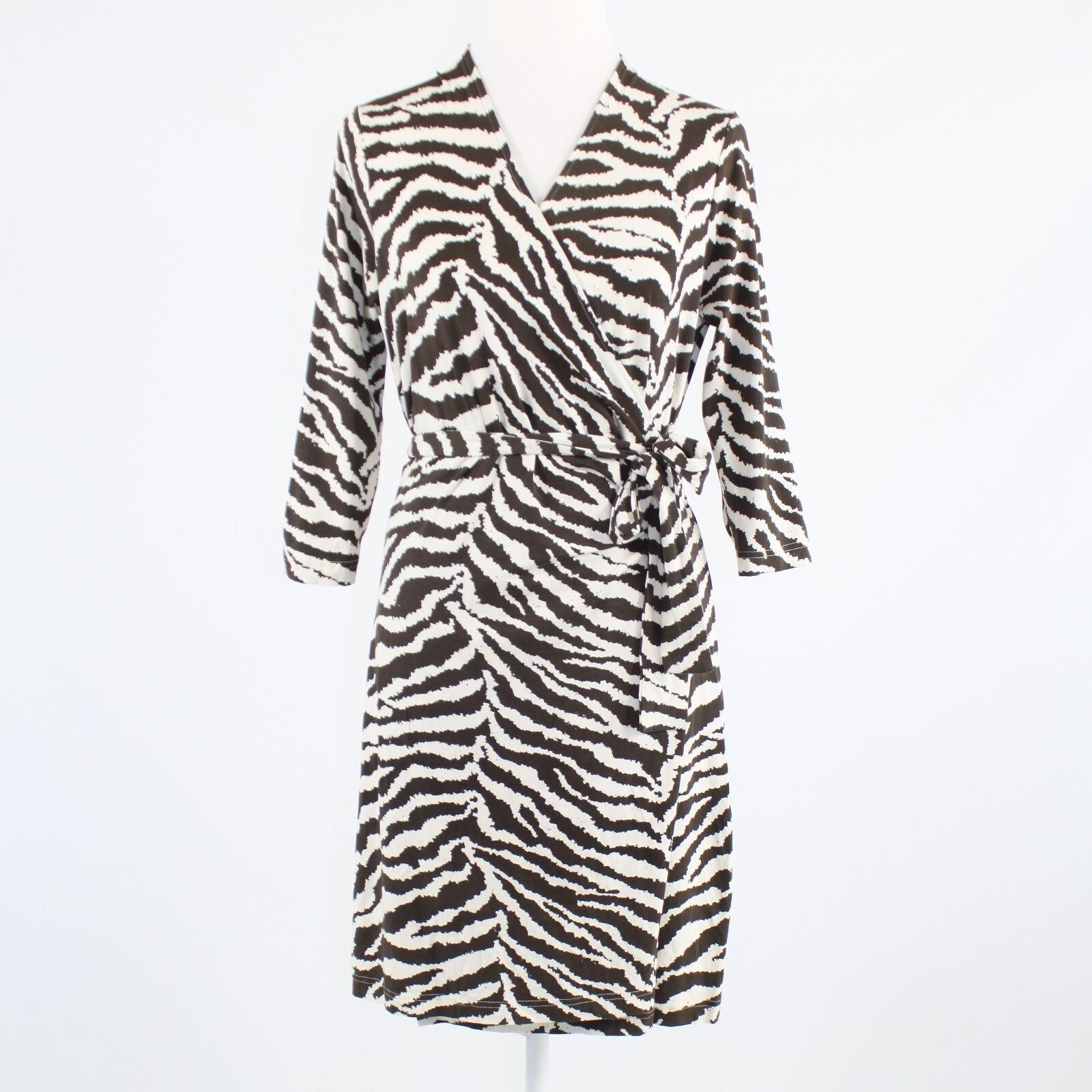 Dark brown ivory zebra stretch KENNETH COLE NEW YORK 3/4 sleeve wrap dress S