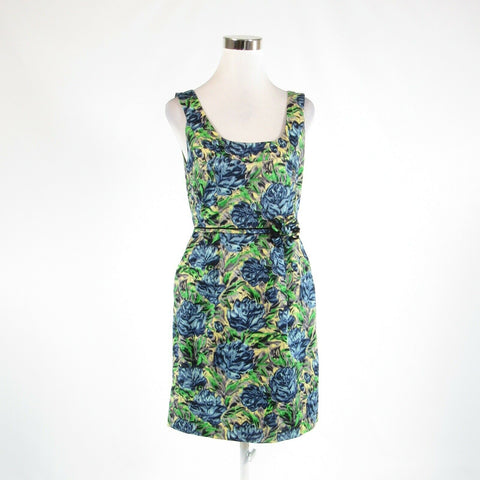 Blue yellow floral print 100% cotton BARASCHI sleeveless sheath dress 8-Newish