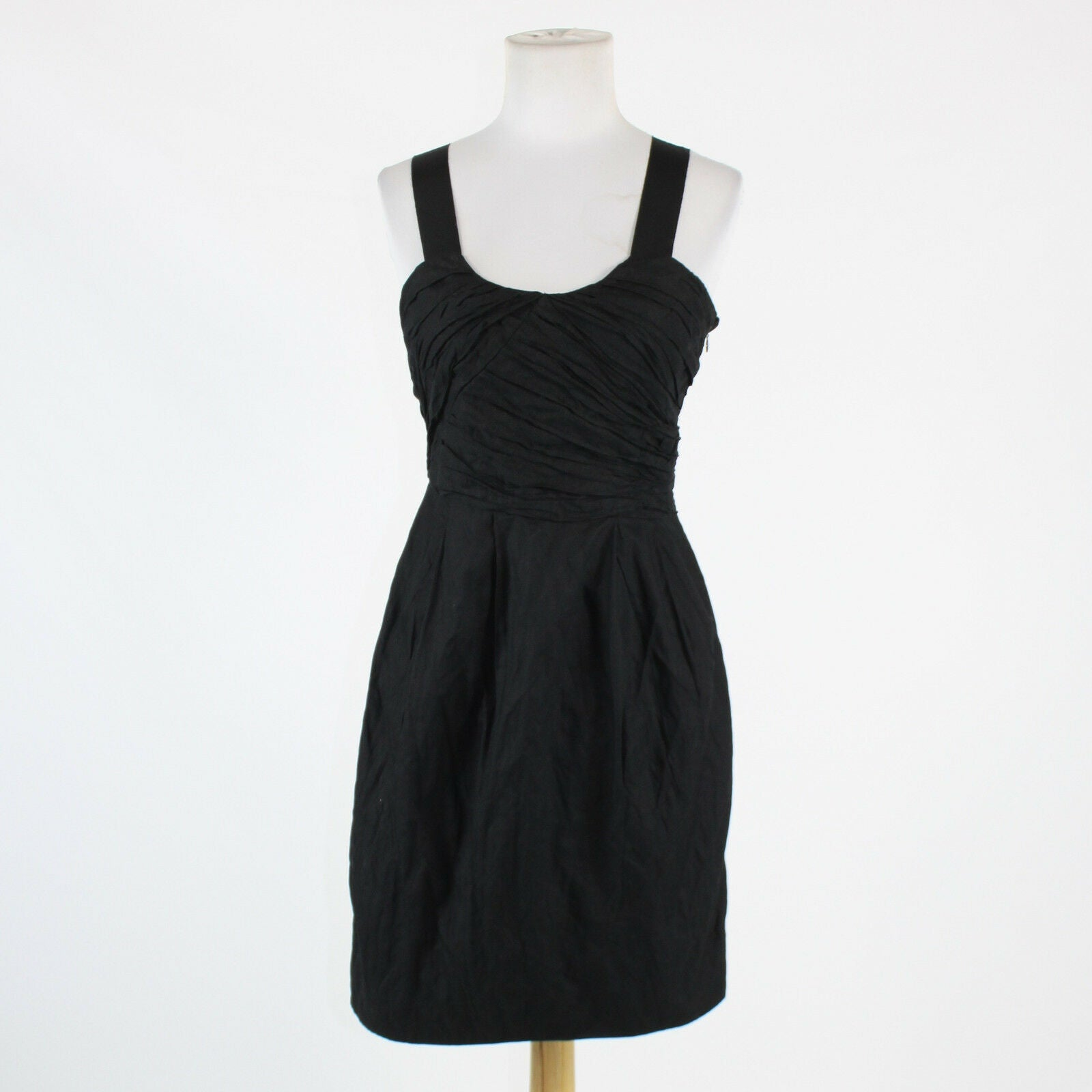 Black cotton blend J. CREW thin strap above knee crinkled bodice sheath dress 2-Newish