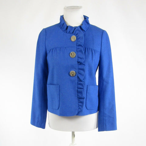 Bright blue 100% wool J. CREW long sleeve jacket 0