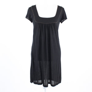 Black stretch FRENCH CONNECTION beaded trim cap sleeve shift dress 4