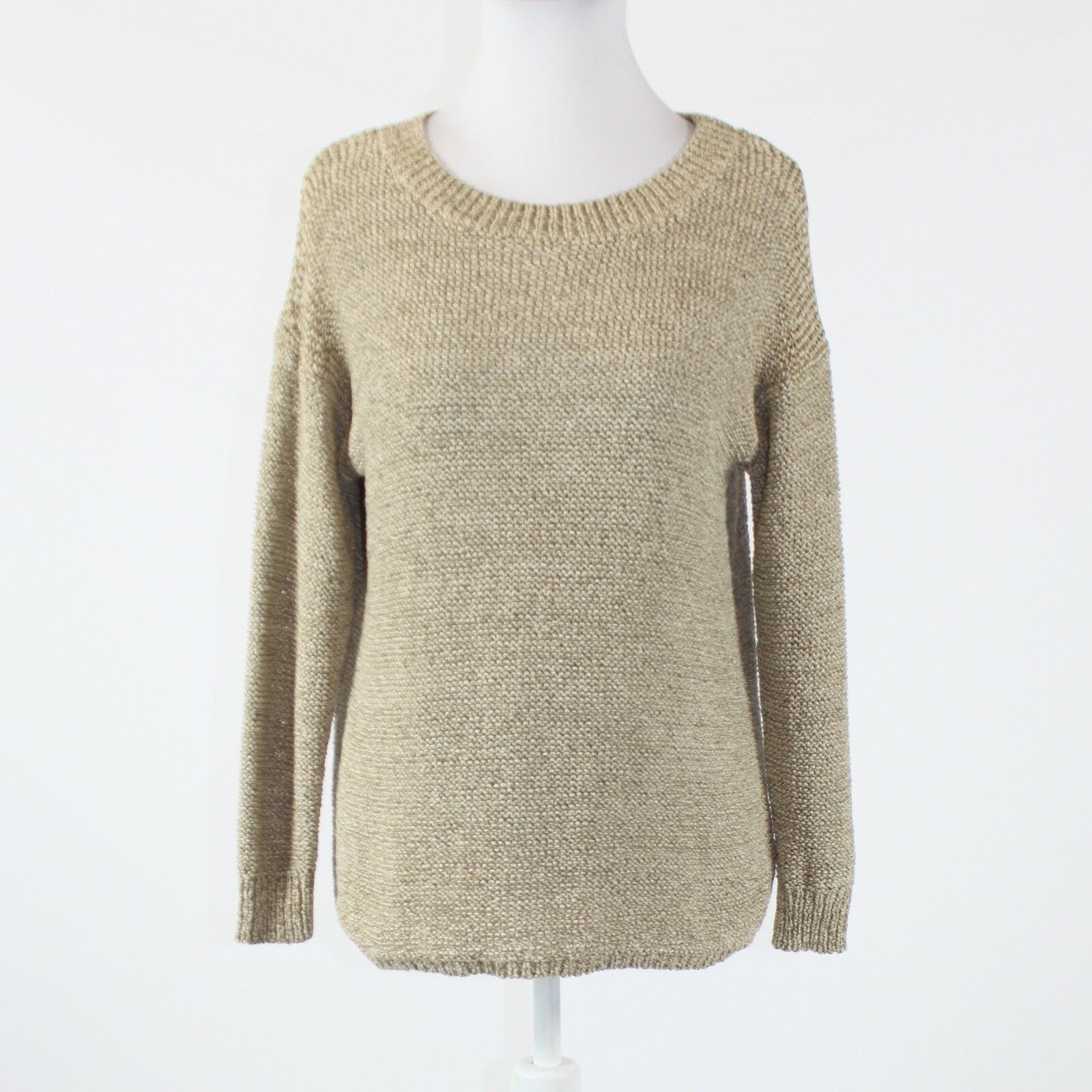 Beige cotton blend ELLEN TRACY 3/4 sleeve scoop neck ribbed trim sweater XS