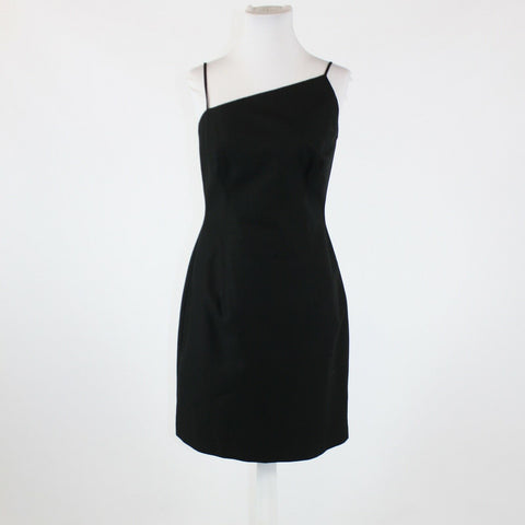 Black textured 100% cotton DAVID MEISTER spaghetti strap sheath dress 8