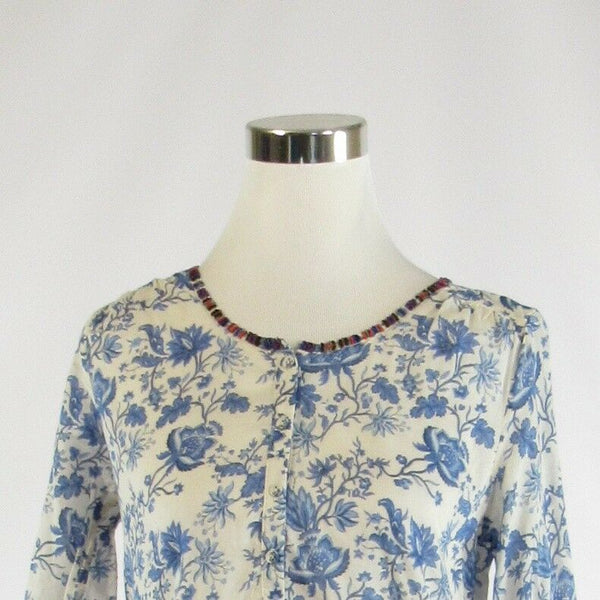 White blue floral print 100% cotton MAISON SCOTCH 3/4 sleeve tunic blouse 1-Newish