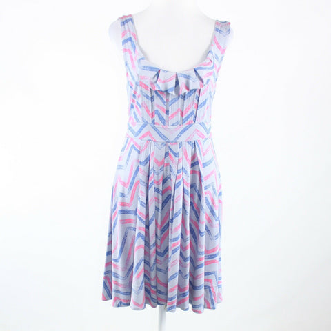 Periwinkle purple blue chevron silk blend MARC JACOBS sleeveless A-line dress M-Newish