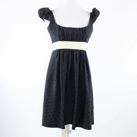 Black ivory polka dot 100% silk MILLY cap sleeve A-line dress 8