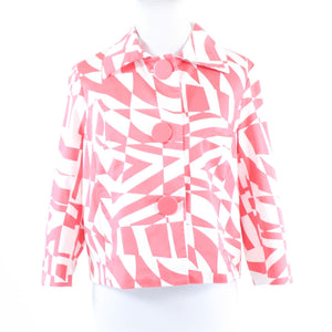 Salmon pink white geometric cotton blend SANDRO Sportswear 3/4 sleeve jacket M
