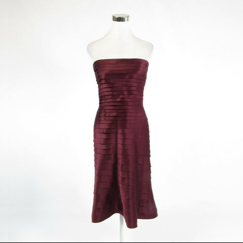 Maroon red TADASHI strapless tiered dress 6-Newish