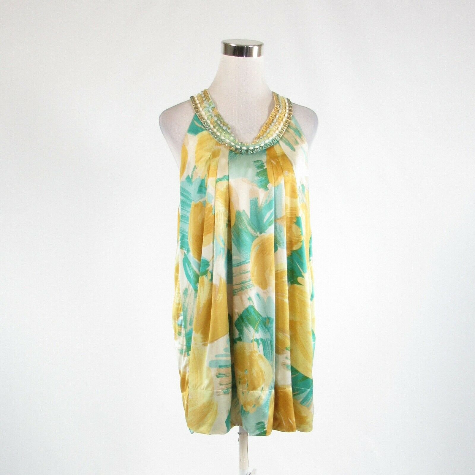 Mustard yellow green abstract satin BCBG MAX AZRIA shift dress XS NWOT-Newish