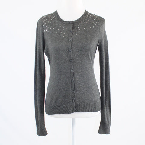 Gray CENTRAL PARK WEST beaded sequin trim long sleeve cardigan sweater S