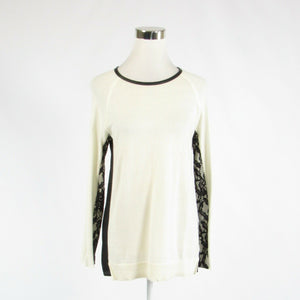 Ivory black cotton blend MARC NEW YORK stretch long sleeve blouse M-Newish