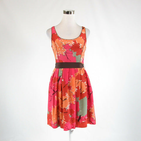 Light orange pink abstract 100% silk ANTHROPOLOGIE, WE LOVE VERA A-line dress 2