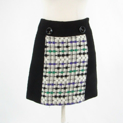 Black ivory geometric 100% wool MILLY A-line skirt 2-Newish